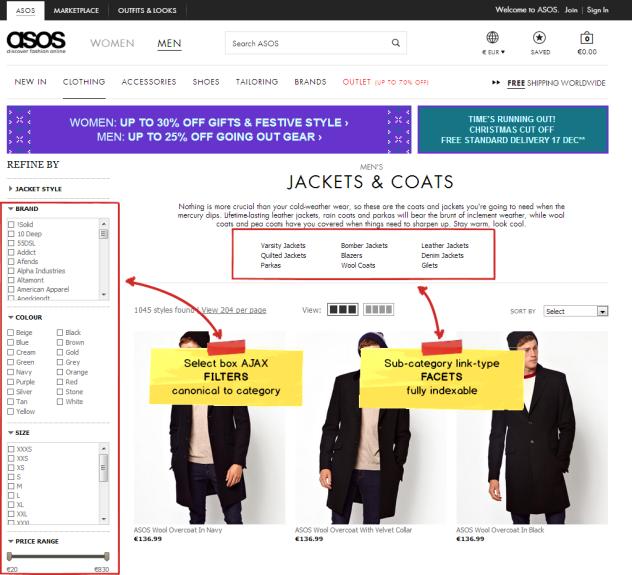 Exemplu ASOS de fatete si filtre pentru E-Commerce