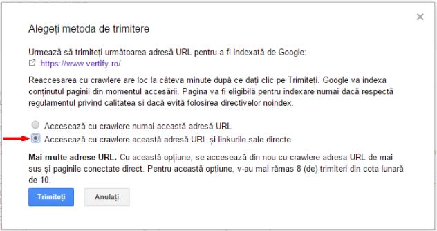Instrumentele pentru webmasteri   Preluare ca Google   Trimiteti la index