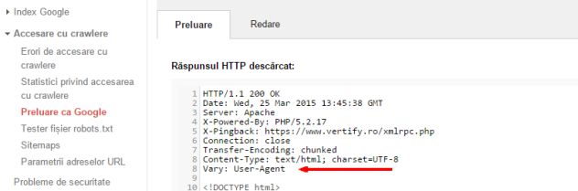Instrumentele pentru webmasteri   Preluare ca Google  Vary User Agent